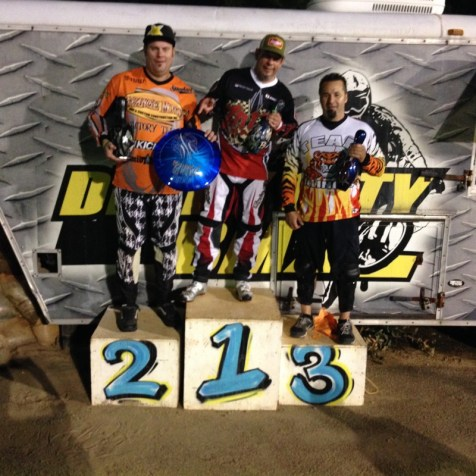 The BMX race podium finishers. Scott Sandoval, Tim Strange, and Dave Tucci.