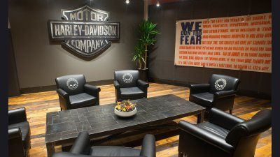 Harley 1903 Table & Bar and Shield in Lobby