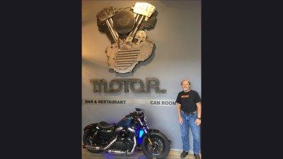 Harley-Davidson Musuem Motor Sculpture & below signage