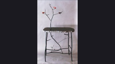 "Steel ""Twig"" Table with Rory Burke Birds - 28 in wide"