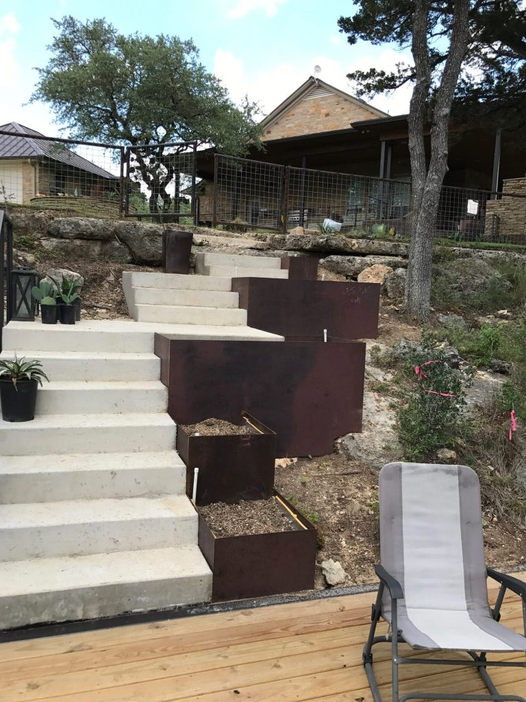 Custom Staircase Steel Planter, Welding Shop Austin, Texas