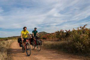 fietsen tussen de wijnvelden in Spanje