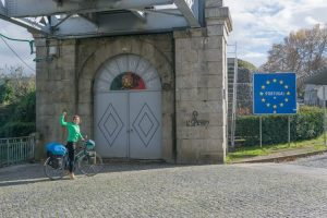 cyclist at the border of Portugal