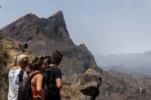 Hikers on the top in Cape Verde