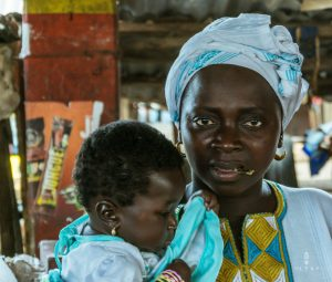 African woman with child