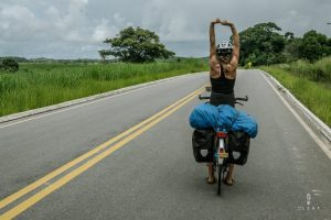 Cyclists stretching on her bicycle in Brazil