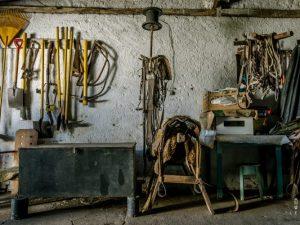 Gaucho gear in a garage