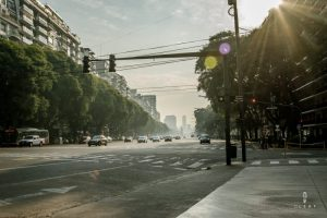 Seven lane street in Buenos Aires on a sunny day