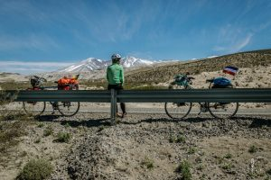 Two cyclists having a break on Ruta 40 in Argentina