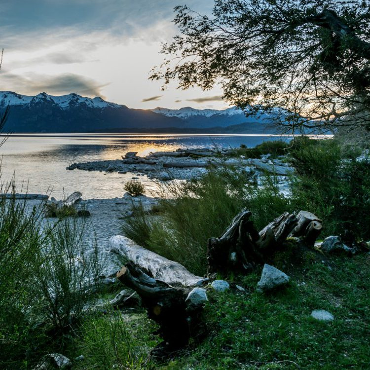 Sunset from a camp site next to the Lago Nahuel Huapi in Bariloche