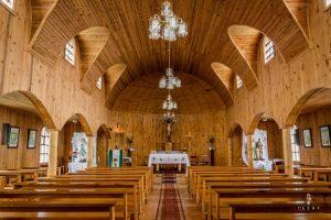 Inside of the church in Hornopiren