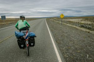 Cycling with strong side wind in Patagonia