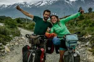 Cyclists celebrating 10.000 kilometers on the bicycle on the Carretera Austral