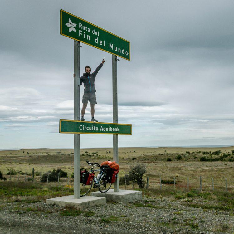 Pose on a Ruta del Fin del Mundo sign