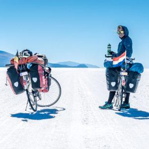 Crossing salar de coipaca by bicycle