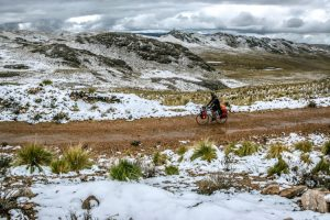 cycling in the snow in Peru