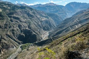 Hairpin curves in Peru on a beautiful cycling route in Peru