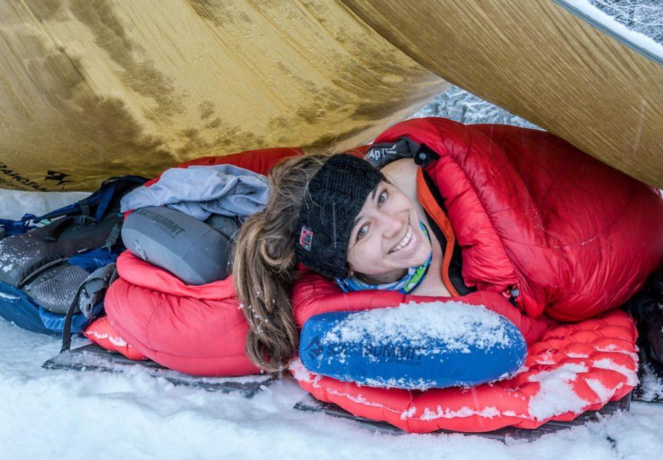 SeaToSummit alpine sleeping bag in the snow
