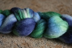 Superwash Merino Top dyed with Gaywools Dyes in Indigo, Cornflower & Avocado