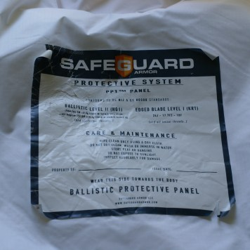 The label on each panel identifies the product and the levels of threat protection. This photo was taken after testing.