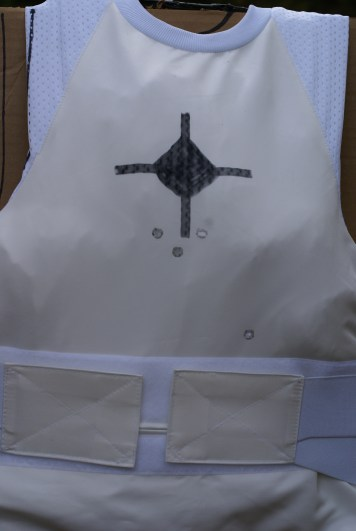 The 9mm test revealed that the Stealth vest was capable of taking multiple hits from the +P hollow points, as there was no penetration.