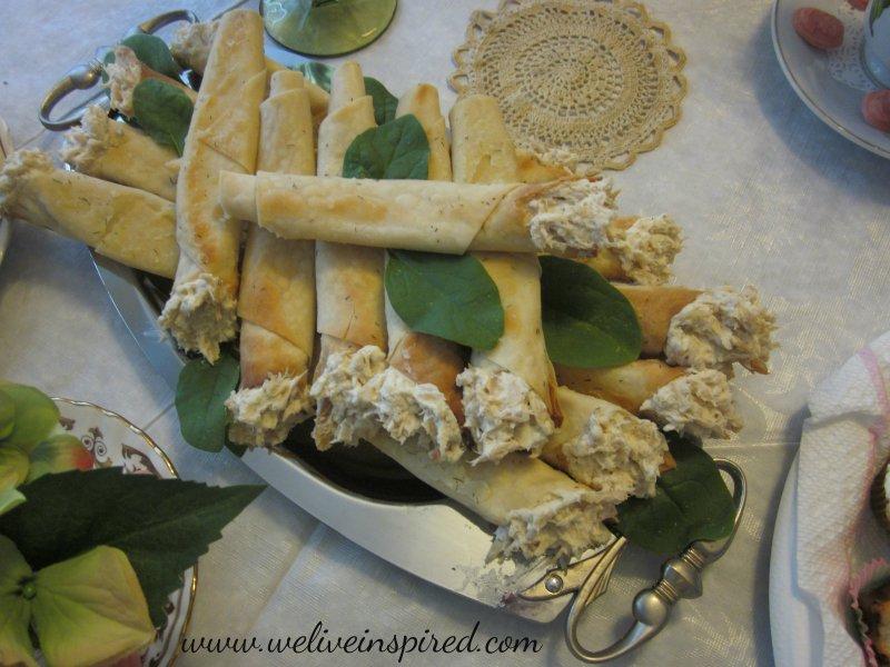 Tea Party Appetizers-Chicken Salad Cones