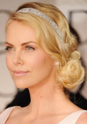 Charlize-Theron-Beautiful-Loose-Bun-Hairstyles-for-Wedding