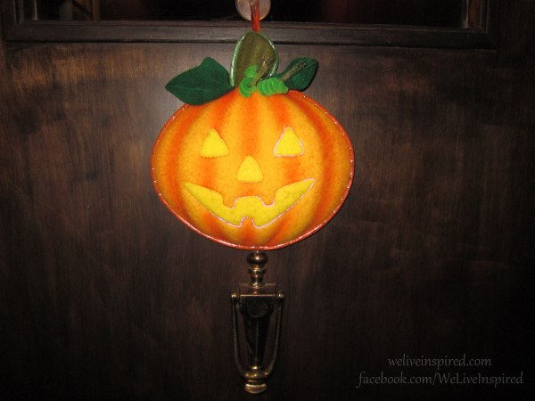 fiber optic pumpkin on door