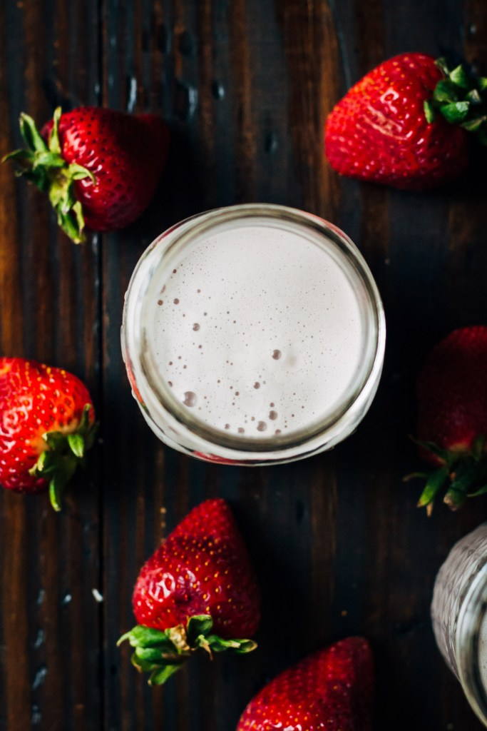Strawberry Almond Milk | Well and Full | #vegan #almond #milk #recipe