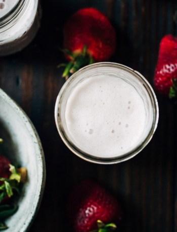 Strawberry Almond Milk | Well and Full | #vegan #almond #milk #recipe
