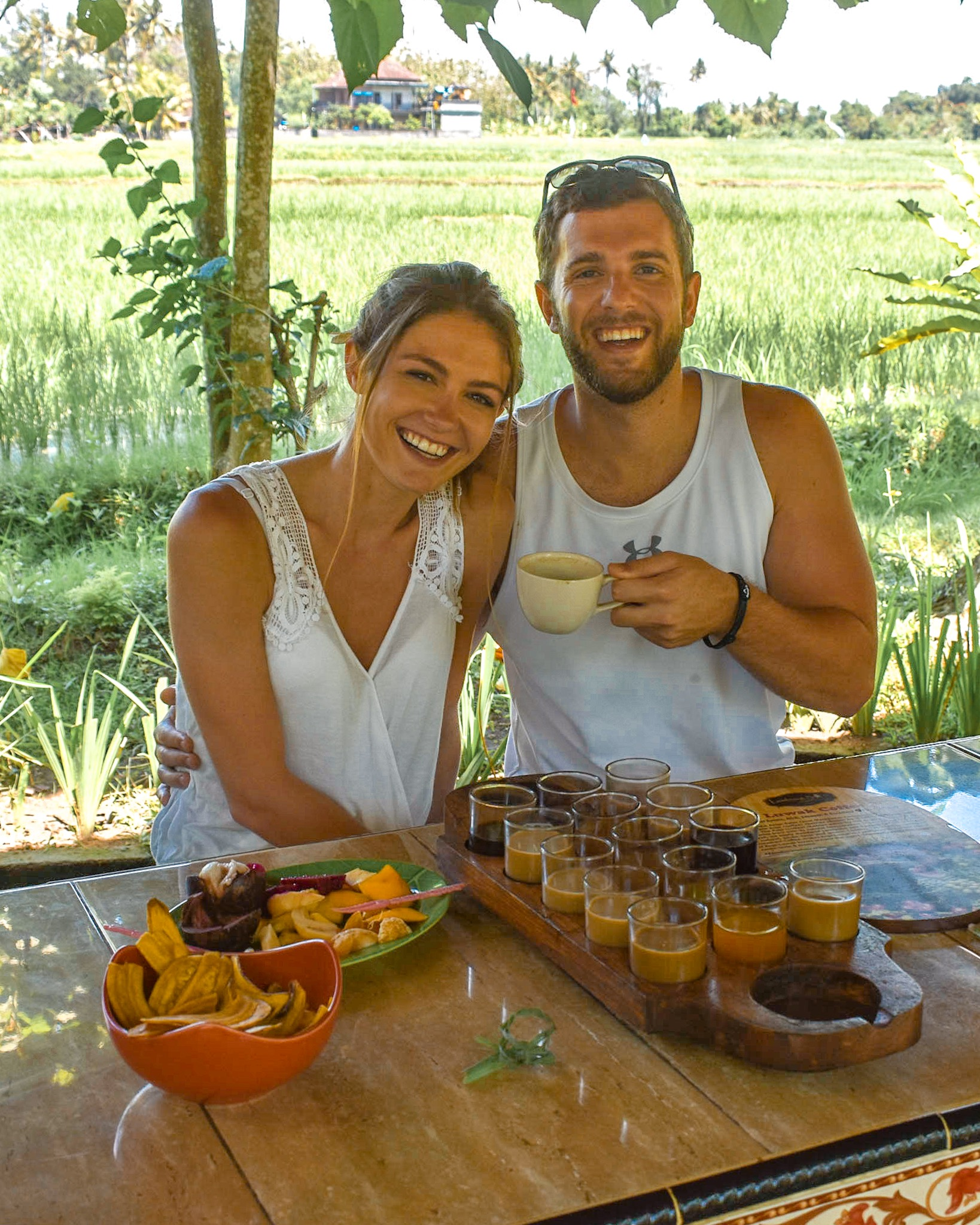 Honeymooners at a Coffee Plantation in Bali, Indonesia