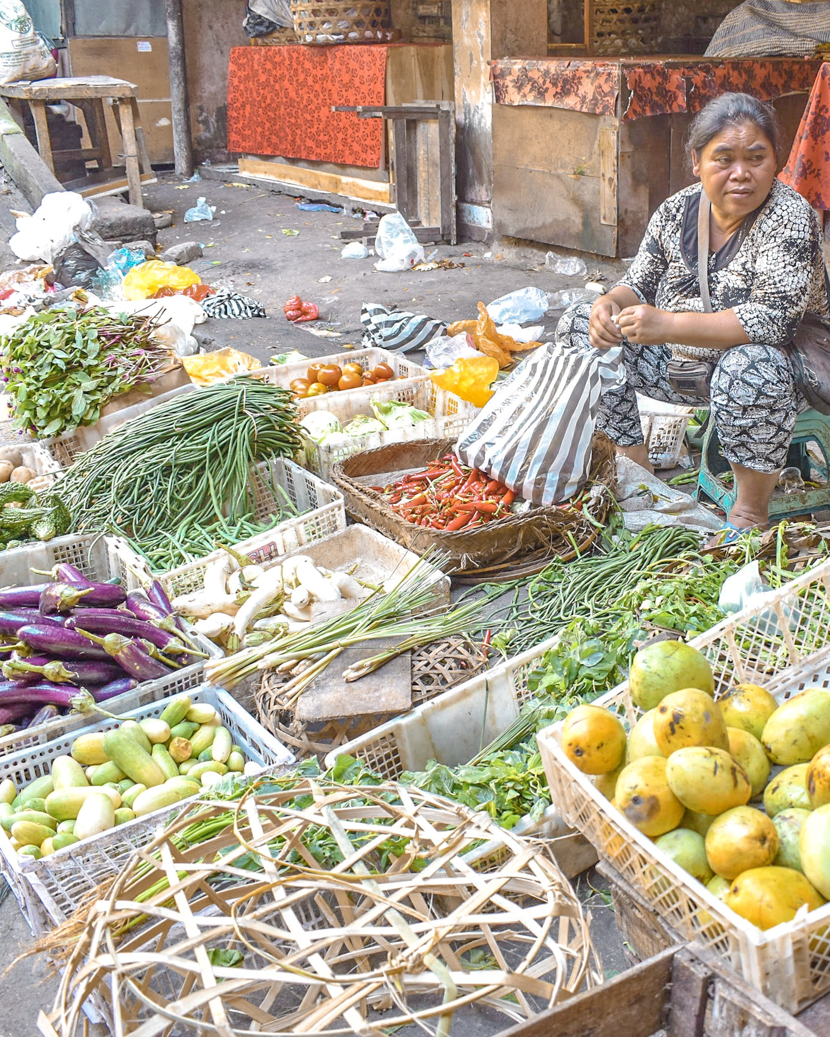 Woman Selling Produce at Ubud Market