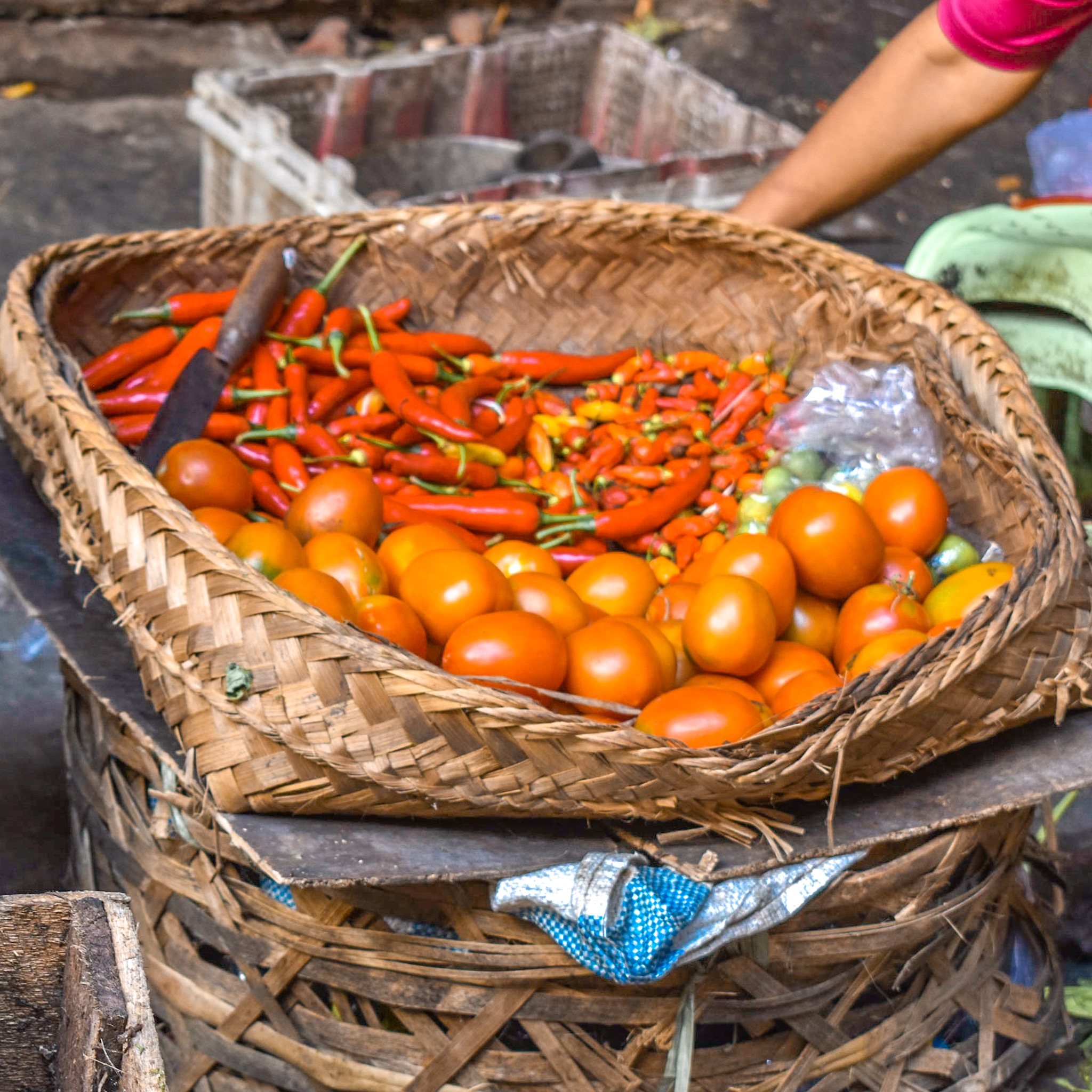 Peppers and Tomatoes at Ubud Market in Indonesia