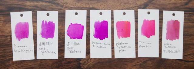 J. Herbin Rose Cyclamen Ink Pink comparison