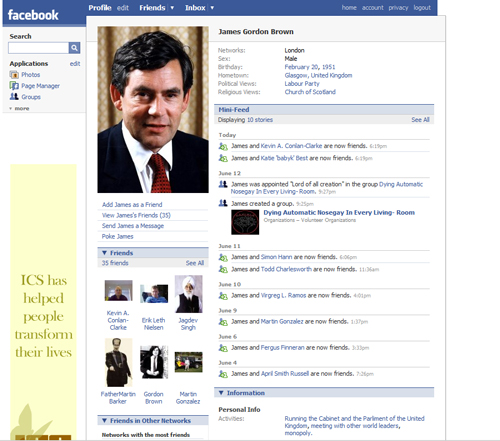 Another dodgy Facebook profile for Gordon Brown