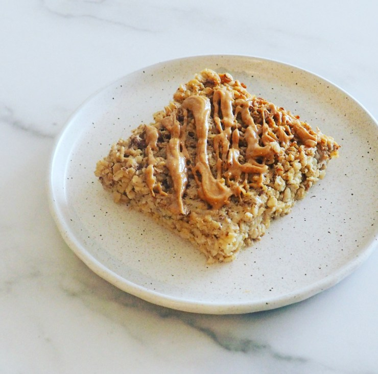 slice of banana peanut butter oatmeal bake