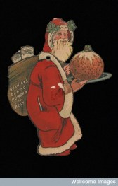 The familiar and friendly Santa Claus could sell anything. Here's Father Christmas advertising Borwick's Baking Powder in the 1900s.