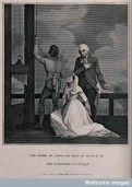 Marie Antoinette, Queen of France, kneeling before the guillotine next to her confessor on the day of her execution, 16 October 1793.