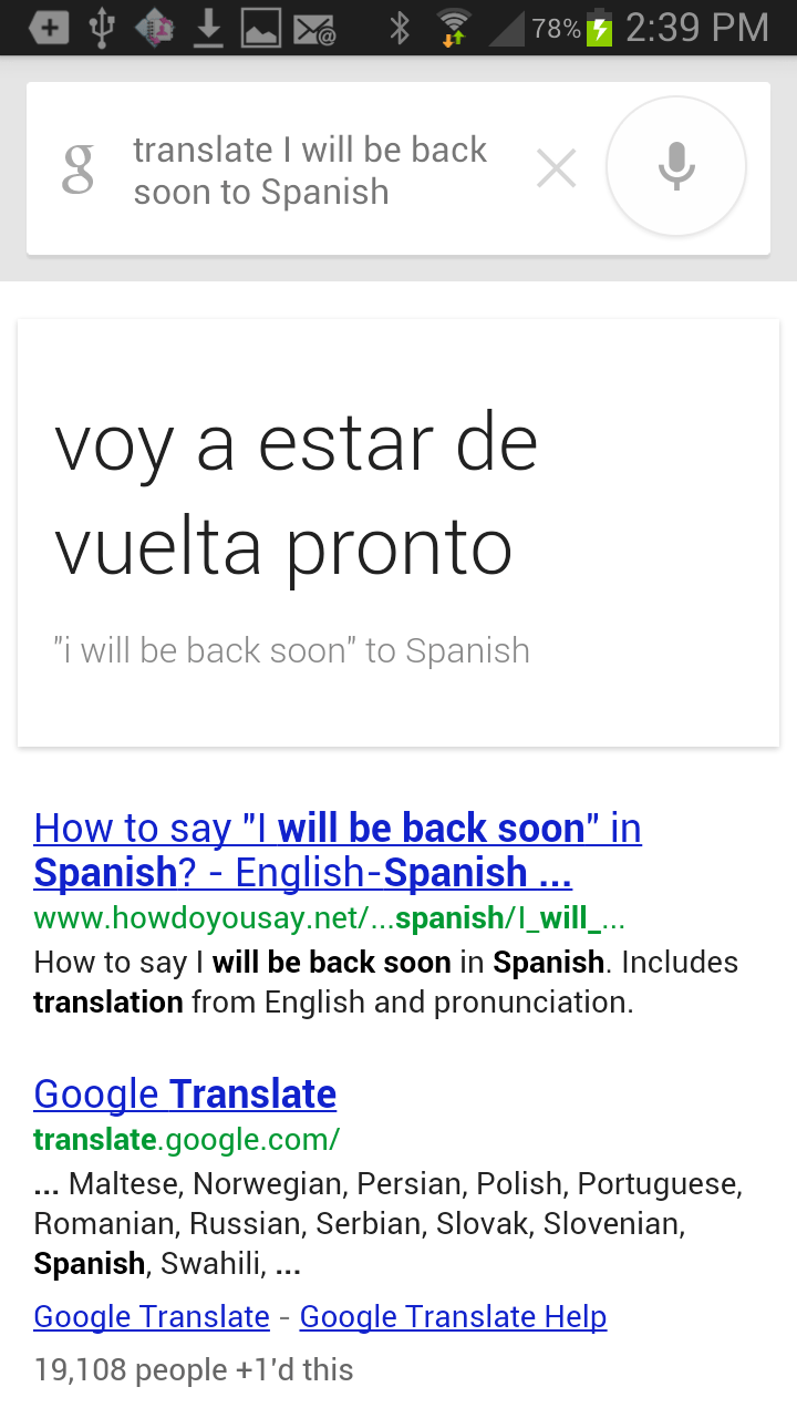 I will be back soon in spanish
