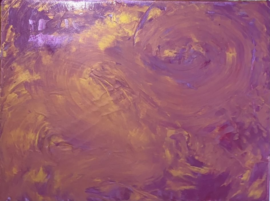 Textured swirls of gold and pink atop a purple and magenta background