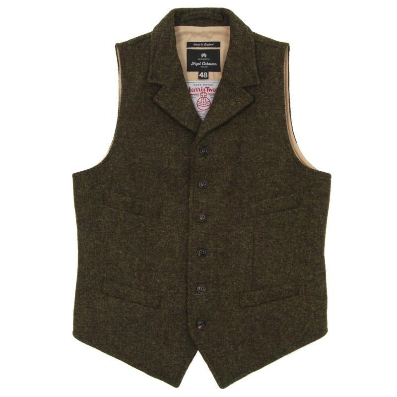"Nigel Cabourn ""Mallory"" waistcoat in Harris Tweed."