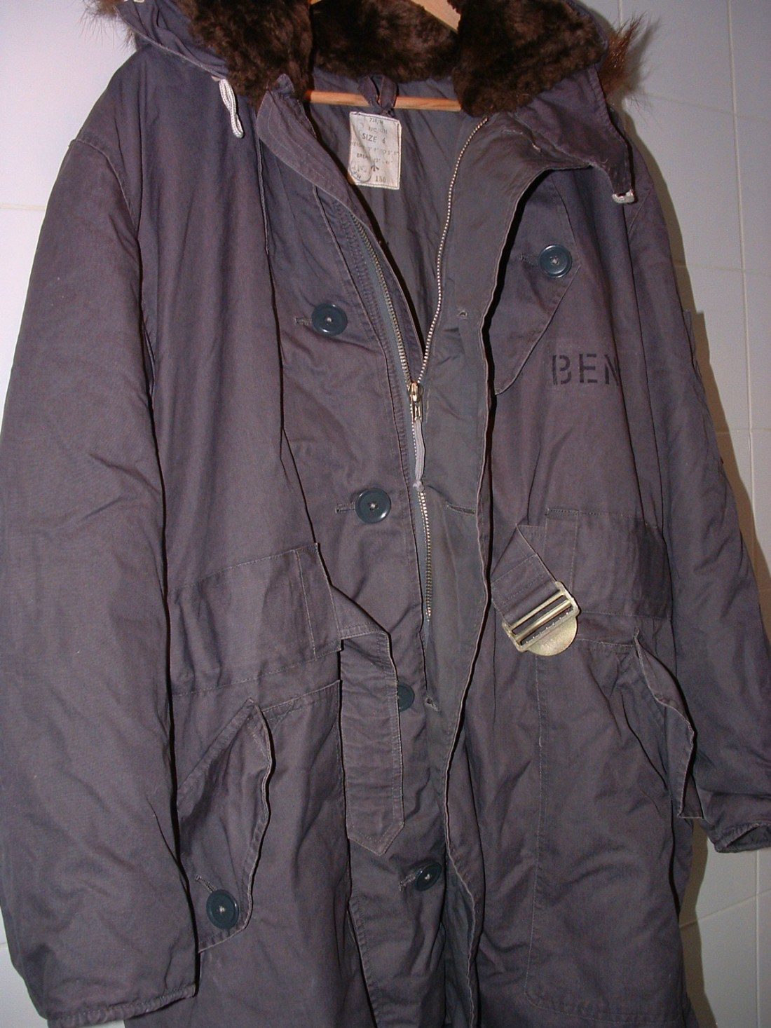 An original cold weather parka used by the RAF.