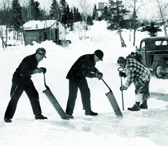These guys are cutting ice on a lake. So could you, with the right boots. Or maybe not. It's up to you.