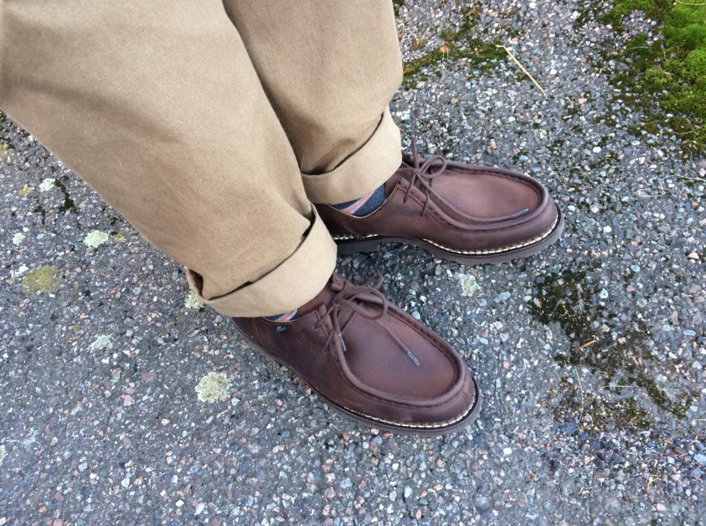 Wearing the Paraboot Michel with chinos works.
