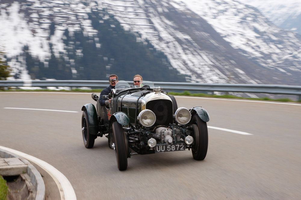 The anniversary Mille Miglia jacket was designed specially for use in open sports cars, such as this Bentley.