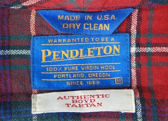 Pendleton label from 1994 to 2009, with a new font and no border.