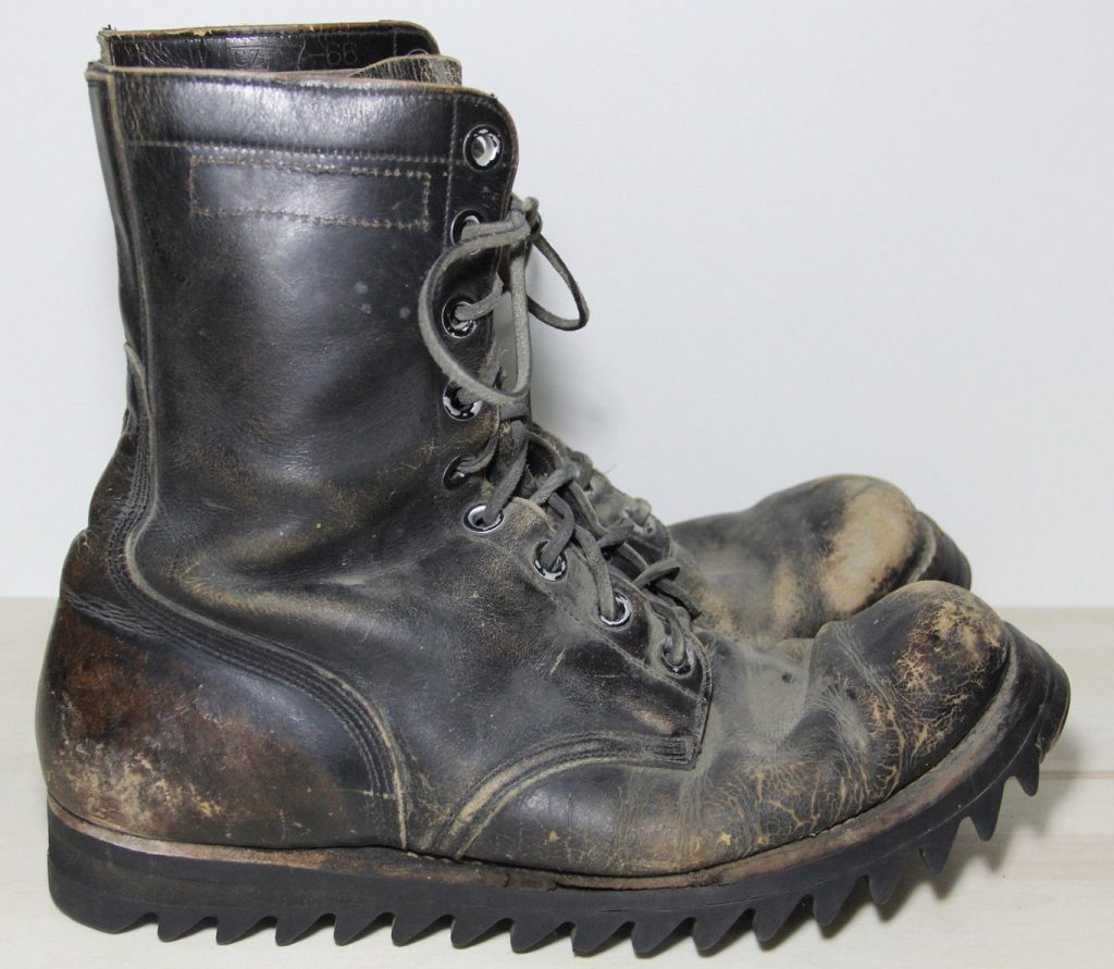 Ripple soles on vintage army boots for sale on eBay.