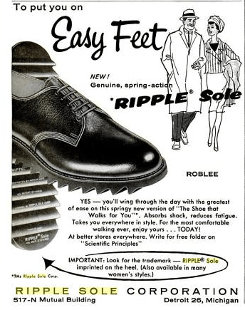 "Another vintage advert for ripple soles, ""To put you on easy feet!"""