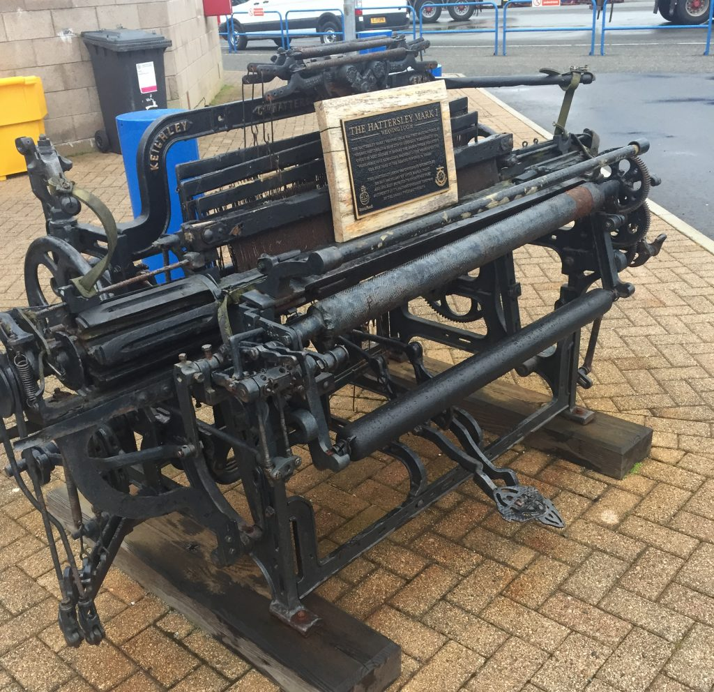 An authentic old Mk1 Hattersley loom on display outside the ferry terminal. Solidly built!