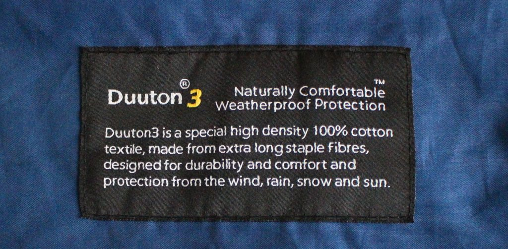 Dutton3 fabric is in the same family as Ventile and etaProof, a densely woven cotton fabric with added DWR, durable water repellent.